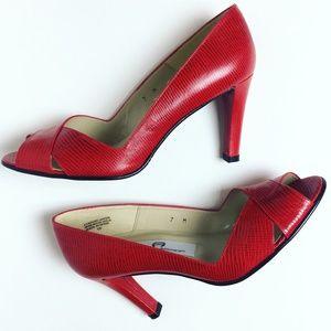 NWOT Etienne Aigner Red Leather Peep Toe Heels